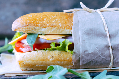 panino: Close up to panini sandwich stuffed with hamd and cheese,selective focus Stock Photo