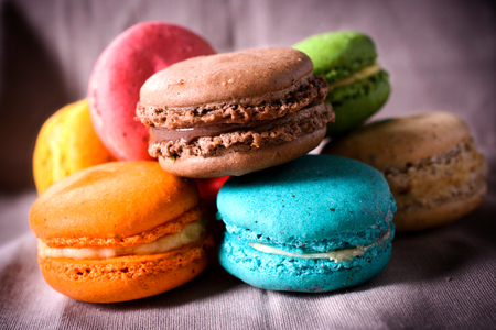 Sweet colorful French traditional macaroon cookies,selective focus  photo