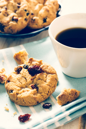 Sweet homemade cookies with dry cranberries,selective focus Stock Photo