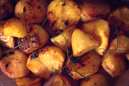 baked: Large group of baked potatoes,selective focus