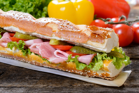 panino: Gromet sandwich with meat and vegetables,selective focus