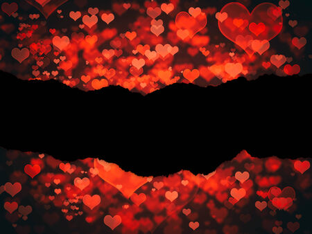 shiny hearts: Shiny hearts bokeh light Valentines day background with black blank space