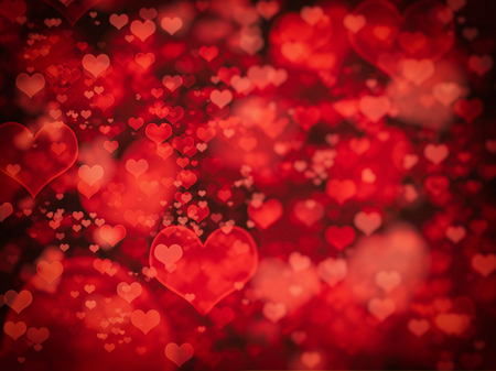 Shiny hearts bokeh light Valentines day background with black blank space photo