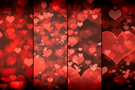 shiny hearts: Shiny hearts bokeh light Valentines day background in collage Stock Photo
