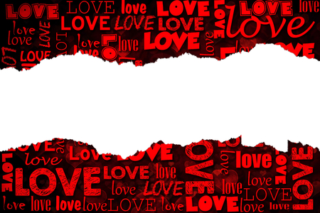 Apstract love background with little hearts and letters and blank torn paper in the middle photo