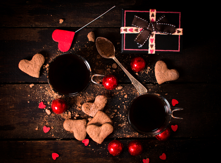 st valentine's: Hot cocoa and cookies on wooden background,valentine concept Stock Photo