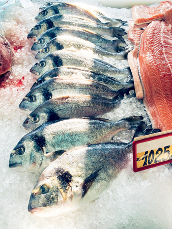 gilthead: Fresh fish gilthead on ice in a restaurant Stock Photo