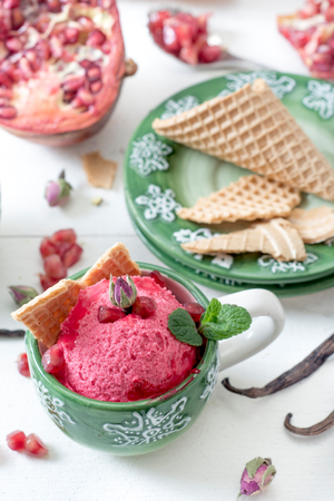 Pomegranates flavor homemade ice cream in coffee cup,selective focus photo