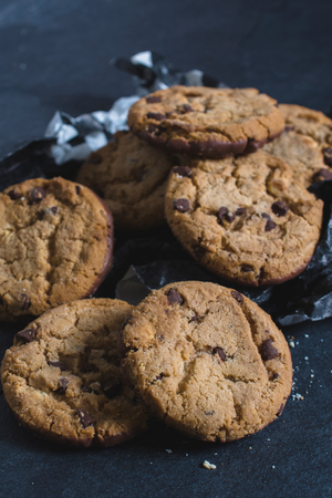 chocolate chip cookies: Homemade chocolate chip cookies,selective focus Stock Photo