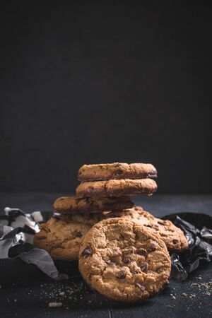 semisweet: Chocolate chip cookies,selective focus and blank space