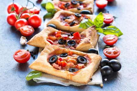 mini pizza: Delicious mini pizza on the table,selective focus