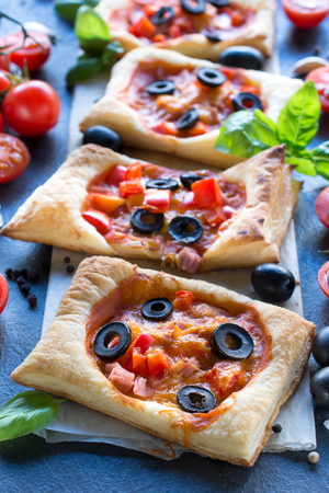 mini pizza: Italian traditional mini pizza,selective focus