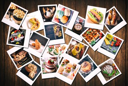 Large group of blank old camera films with food photos on wooden background photo