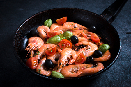 aphrodisiac: Boiled tiger shrimps in panwith ingredients,selective focus Stock Photo