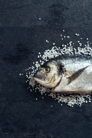 overfishing: Glithead fishe with salt on black background with blank space for text Stock Photo