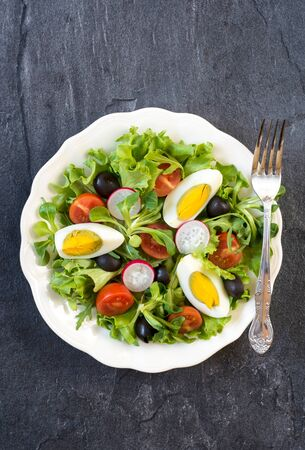eating salad: Fresh salad with boiled eggs and vegetables,selective focus and blank space