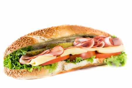 Close up to submarine sandwich with ham and cheese on white background,selective focus