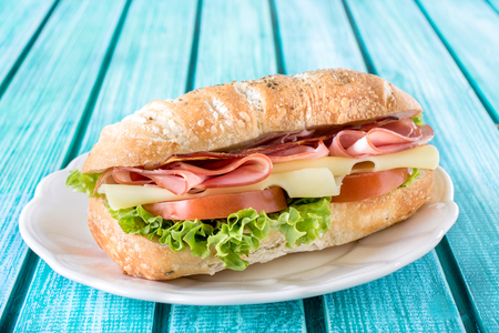 Popular ciabatta sandwich with cheese and meat,selective focus photo