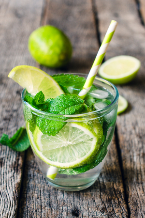 soda water: Cold soda water with lime and herbs in glass on wooden background,selective focus