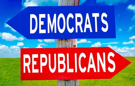 political party: Republican and Democrat sign with nature landscape in background