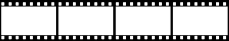 film strip: Group of blank white in black film frame
