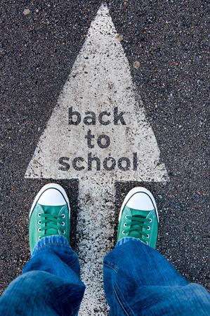 zapatos escolares: Estudiante que se coloca por encima de la señal de regreso a la escuela