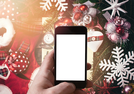 smartphone: New Year decoration with blank smart phone screen in the middle