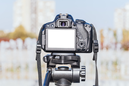 filming point of view: Blank white screen on dslr camera,selective focus