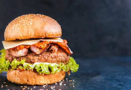beef burger: Beef burger in the bun with bacon pepper sauce on dark background with blank space