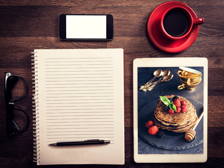 BLOG: Food blog concept for recipes with photo of buckwheat pancakes