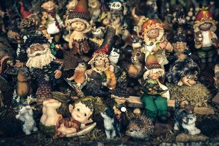 small group of object: Ceramic handmade toys,selective focus
