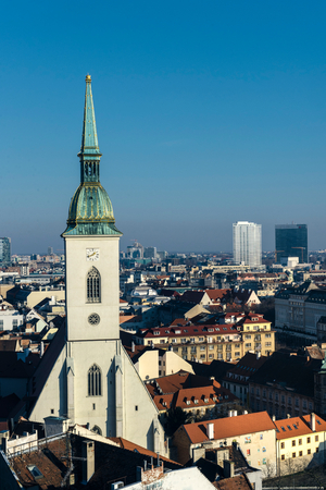 catholocism: St. Martin cathedta and landscape of Bratislava Stock Photo