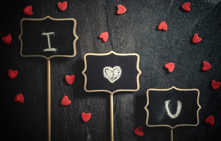 love message: I love you sign on dark background Stock Photo