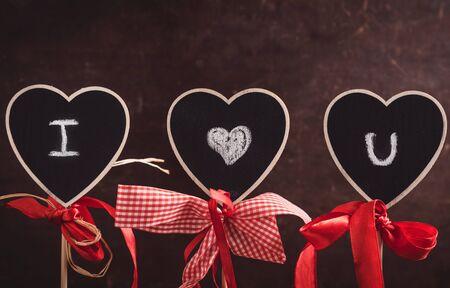 i love you sign: I love you sign on heart shape chalkboards