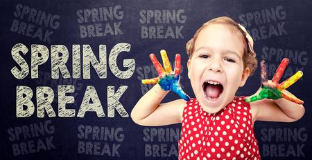 spring break: Happy child announcement Spring Break