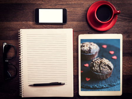 ebook: Office and love concept with photos of chocolate muffins
