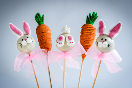 cake pops: Bunny and carrots cake pops,Easter concept,selective focus