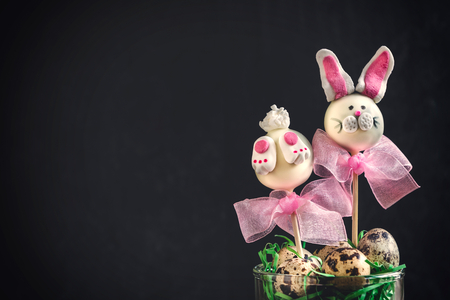 Easter bunny cake pops on dark background with copy space