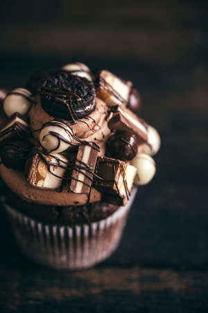 crunchy: Homemade chocolate and crunchy cupcake on wooden background, selective focus Stock Photo