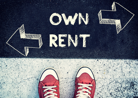 renter: Student standing above the sign for own and rent,dilemma concept
