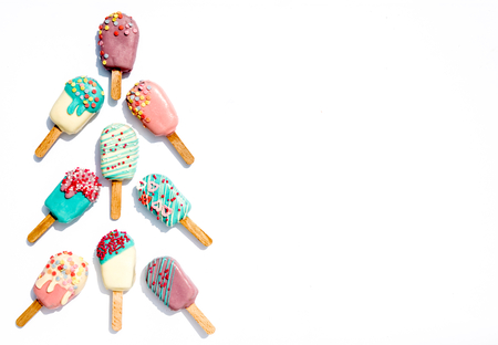 pops: Ice creams cake pops on white background with blank space