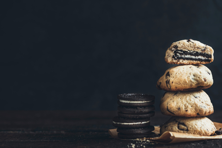 chocolate chip cookies: Homemade sweet chocolate chip cookies,selective focus and blank space Stock Photo