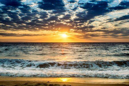 ove: Sunrise ove the sea with beautiful sky,selective focus