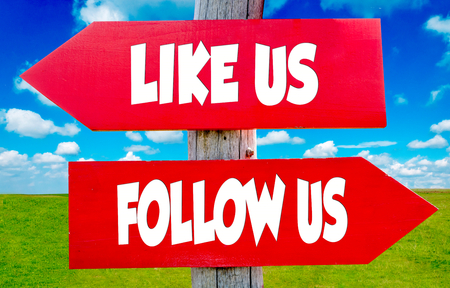 advertise with us: Follow us and like us on the red signs with landscape in background