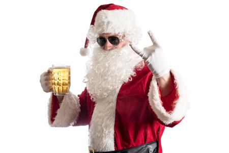 산타 클로스 흰색 배경에 고립, 맥주를 들고