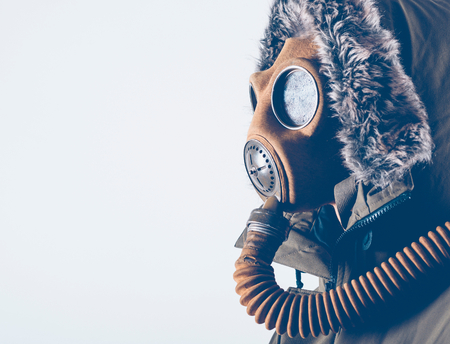 Scary man with gas mask and empty space,selective focus photo