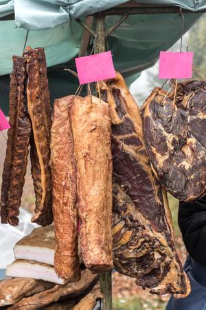 jamones: Homemade hams on the market,selective focus
