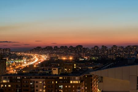 Dusk on New Belgrade blocks,The capital city of Serbia