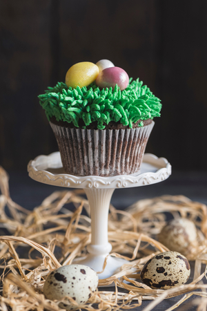 Easter eggs on the top of cup cake,selective focus