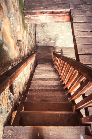 Old wooden stairs,selective focus Stock Photo